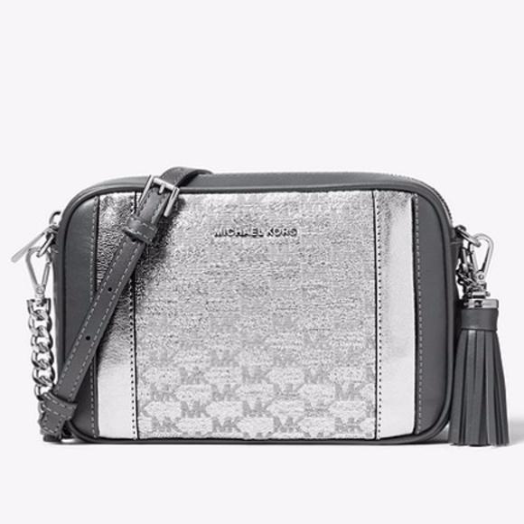6892b68274cd83 Michael Kors Bags | Nwt Ginny Medium Metallic Logo Xbody | Poshmark